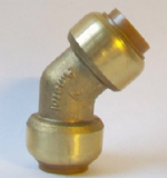 Brass Push Fit 45 Degree Obtuse Elbow 15mm - 27211500